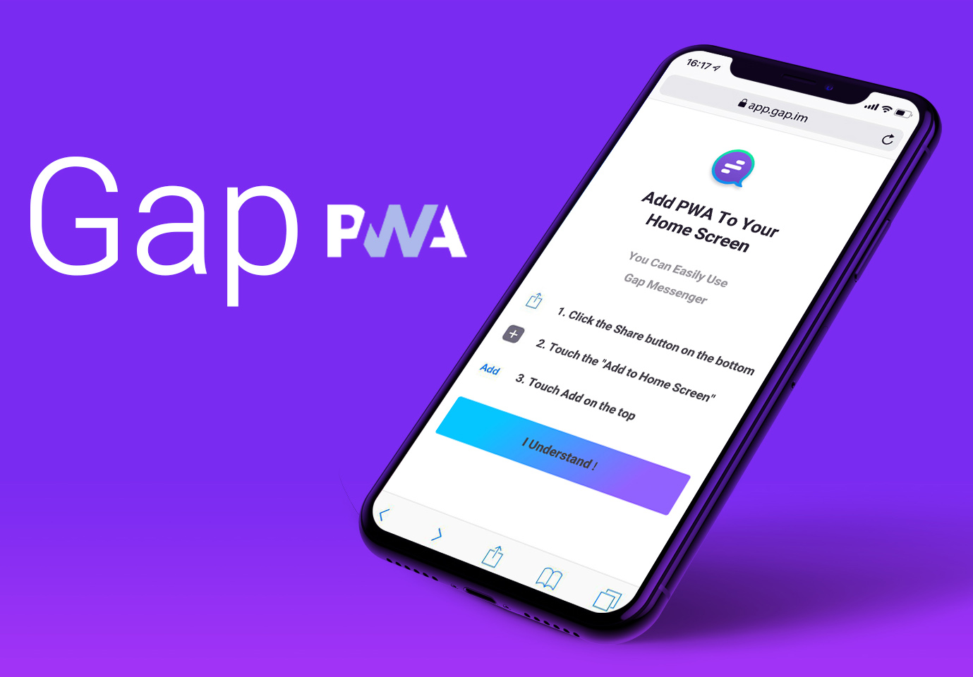 GapMessenger's solution for the iOS devices (PWA version)