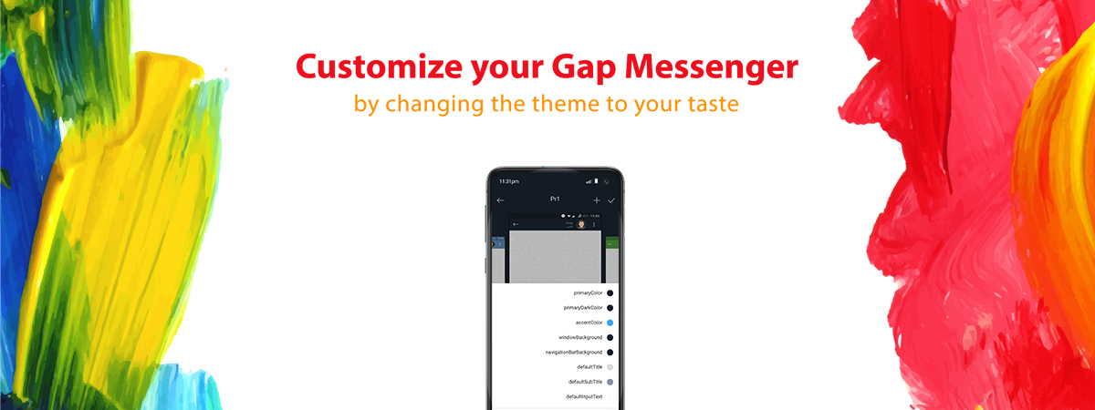 The option of customizing theme in Gap messenger